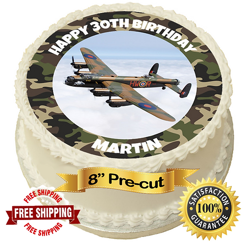 """Lancaster Plane Personalised 8"""" Round Edible Cake Topper"""