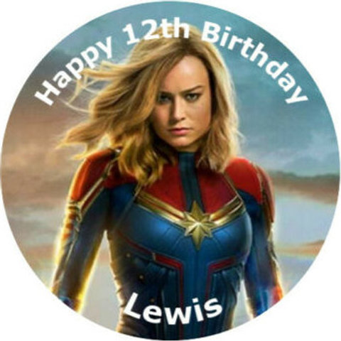"""Captain Marvel Personalised 8"""" Round Edible Cake Topper"""