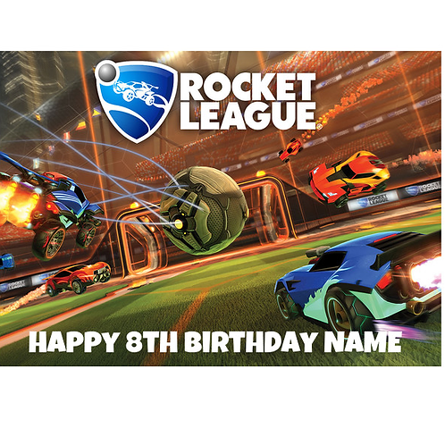 Rocket League Personalised Edible A4 Sized Cake Topper