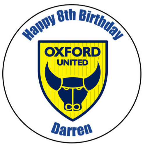 "Oxford United FC Personalised 8"" Round Edible Cake Topper"