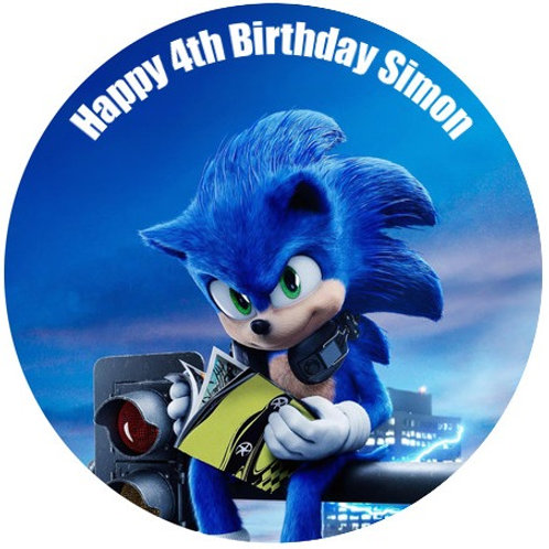 """Sonic The Hedgehog Personalised 8"""" Round Edible Cake Topper"""