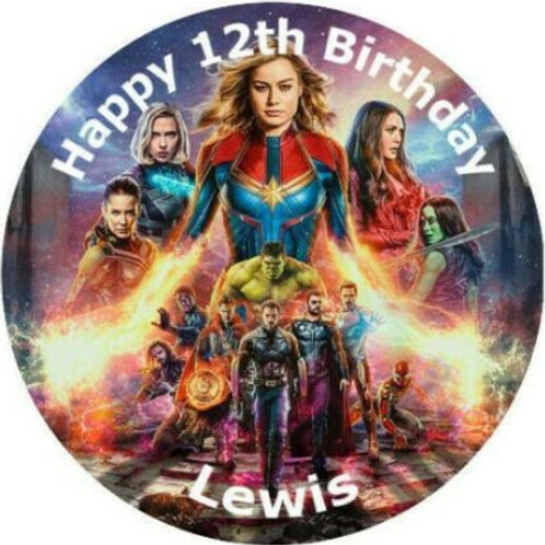 "The Avengers Personalised 8"" Round Edible Cake Topper"