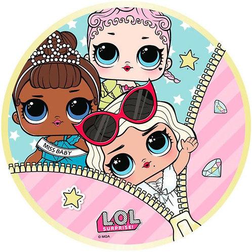 "LOL Dolls Glam 8"" Round Edible Cake Topper"
