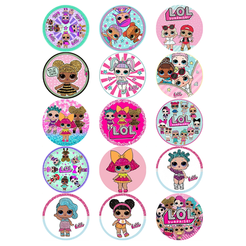 15 x LOL Dolls Edible Cupcake Toppers