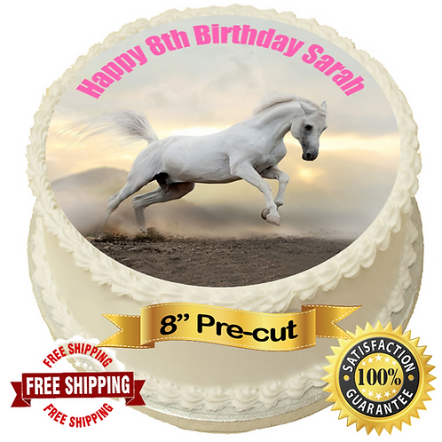 """Horse Theme Personalised 8"""" Round Edible Cake Topper #2"""