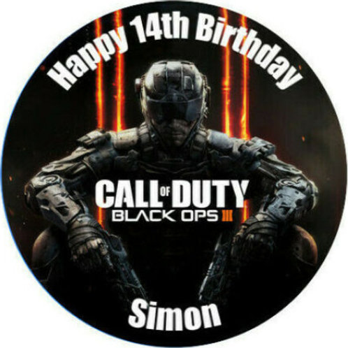 """Call Of Duty Personalised 8"""" Round Edible Cake Topper #1"""