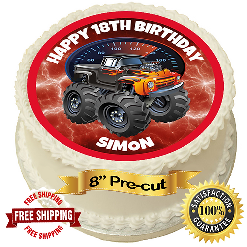 "Monster Truck Personalised 8"" Round Edible Cake Topper"