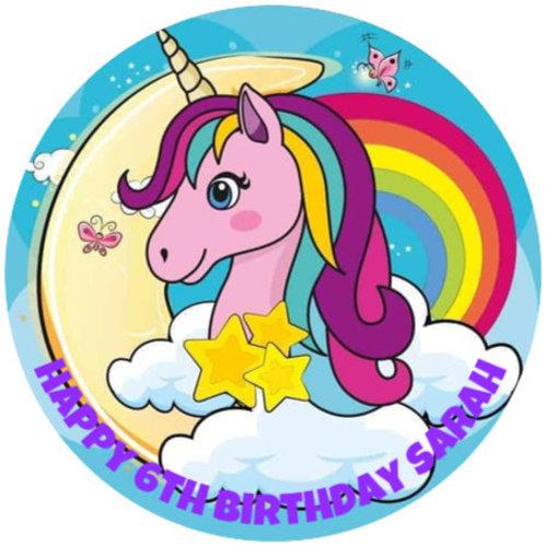 "Unicorn Rainbow Personalised 8"" Round Edible Cake Topper"