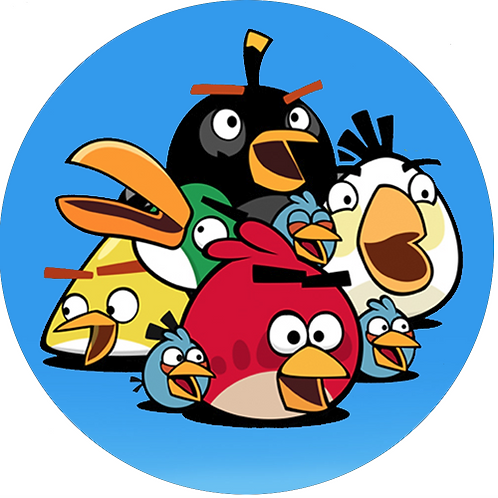 """Angry Birds 8"""" Round Edible Cake Topper #1"""