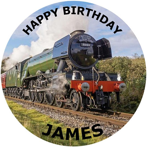 """Flying Scotsman Steam Train Personalised 8"""" Round Edible Cake Topper"""