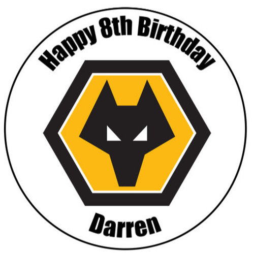 "Wolves FC Personalised 8"" Round Edible Cake Topper"