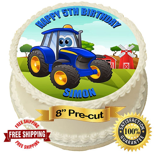 "Blue Tractor Personalised 8"" Round Edible Cake Topper"