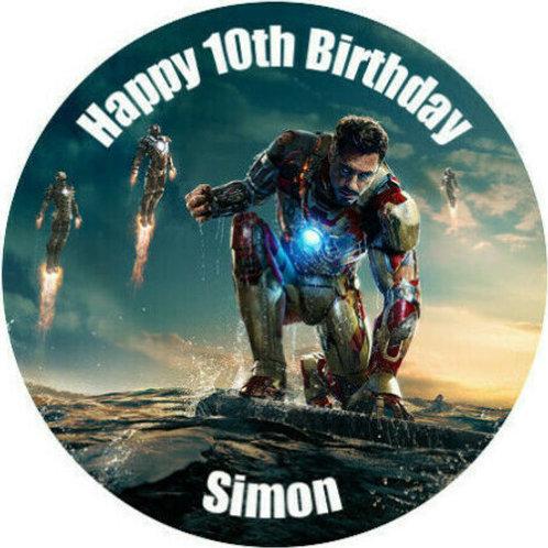 "Iron Man Personalised 8"" Round Edible Cake Topper #4"