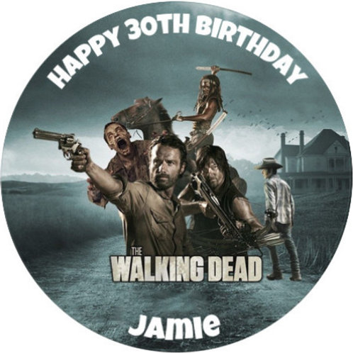 "The Walking Dead Personalised 8"" Round Edible Cake Topper #3"