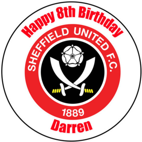 """Sheffield United FC Personalised 8"""" Round Edible Cake Topper"""