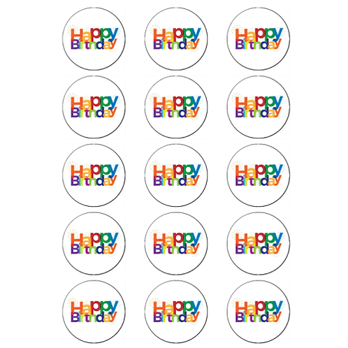 15 x Happy Birthday Edible Cupcake Toppers #1