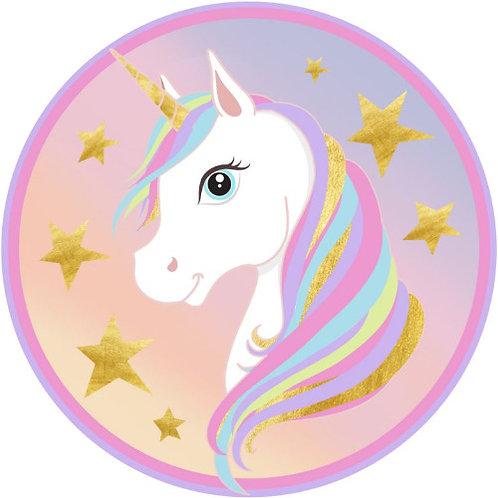 "Unicorn 8"" Round Edible Cake Topper"