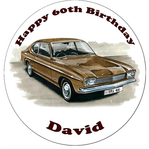 "Ford Capri Mk 1 Personalised 8"" Round Edible Cake Topper"