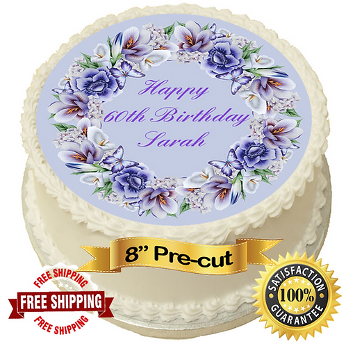 """Floral Personalised 8"""" Round Edible Cake Topper"""