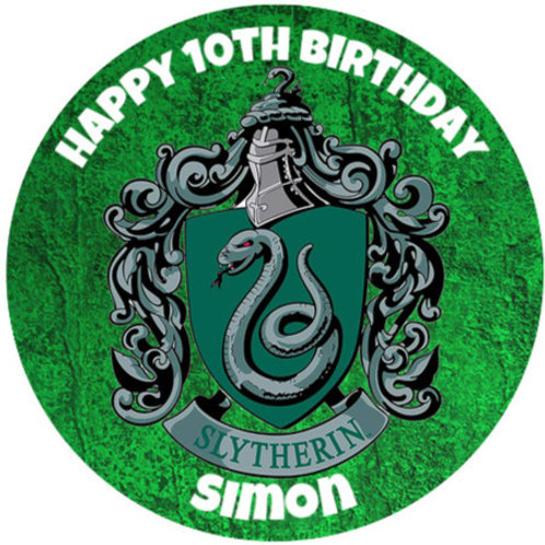 """Harry Potter Slytherin Personalised 8"""" Round Edible Cake Topper"""