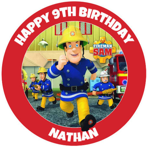 "Fireman Sam Personalised 8"" Round Edible Cake Topper"