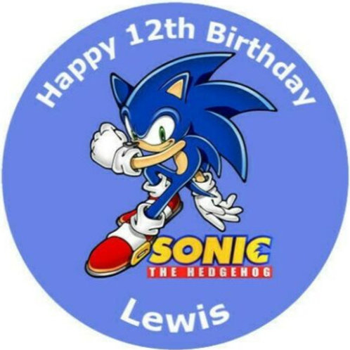 """Sonic The Hedgehog Personalised 8"""" Round Edible Cake Topper #4"""