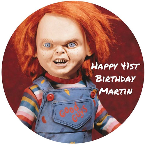 "Chucky Horror Personalised 8"" Round Edible Cake Topper"