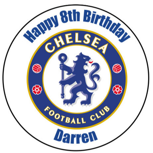 """Chelsea FC Personalised 8"""" Round Edible Cake Topper"""