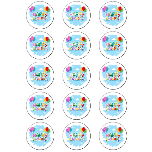 15 x Happy Birthday Edible Cupcake Toppers #3