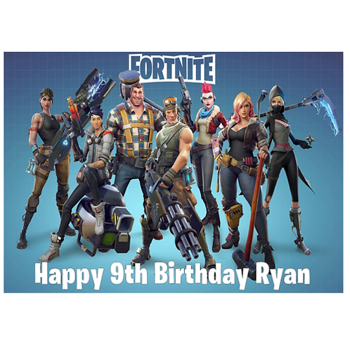 Fortnite Gang Personalised Edible A4 Sized Cake Topper #6