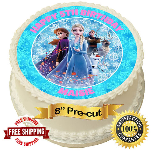 """Frozen Personalised 8"""" Round Edible Cake Topper"""