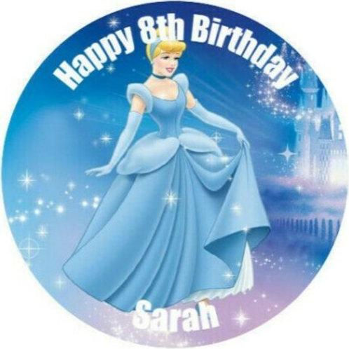 "Cinderella Personalised 8"" Round Edible Cake Topper #10"