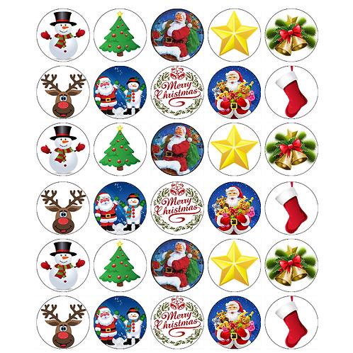 30 x Christmas Theme Edible Wafer Cupcake Toppers
