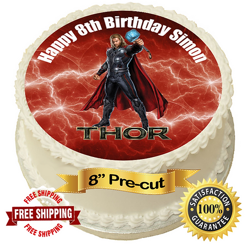 """Thor Personalised 8"""" Round Edible Cake Topper"""
