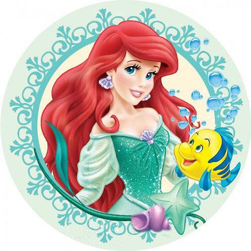 """Ariel Princess 8"""" Round Edible Cake Topper"""