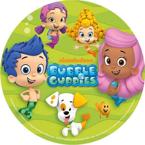 "Bubble Guppies 8"" Round Edible Cake Topper #1"