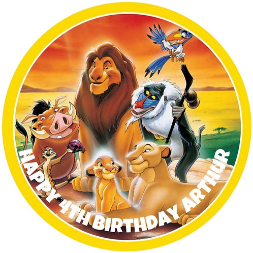 """Lion King Group Personalised 8"""" Round Edible Cake Topper"""