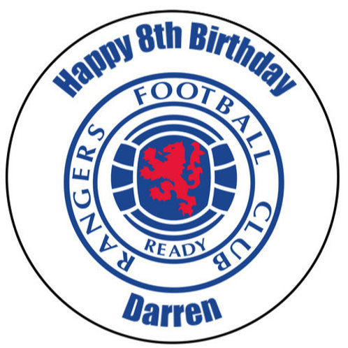 """Rangers FC Personalised 8"""" Round Edible Cake Topper"""