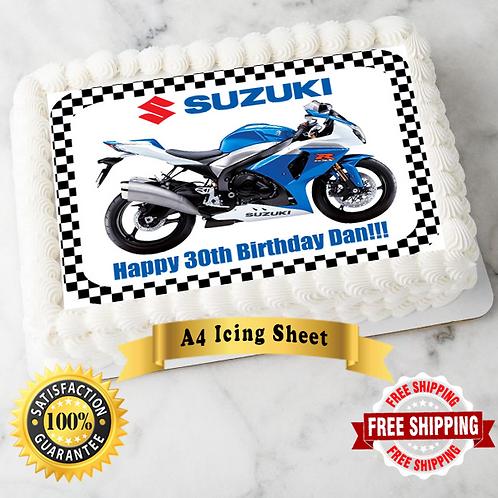 Suzuki Motorbike Personalised Edible A4 Sized Cake Topper