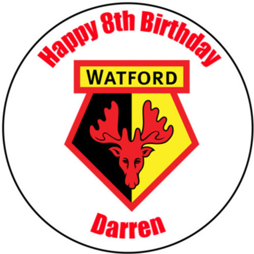 "Watford FC Personalised 8"" Round Edible Cake Topper"