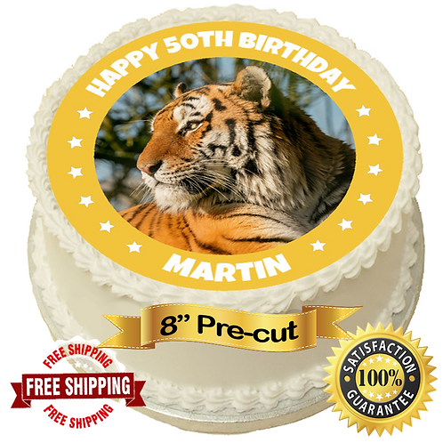 """Tiger Leopard Personalised 8"""" Round Edible Cake Topper"""