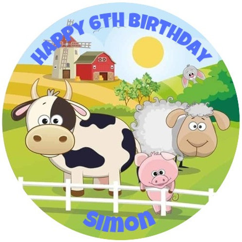 "Farm Animals Personalised 8"" Round Edible Cake Topper"