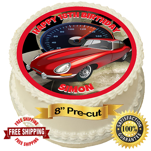 """Red Sportscar Personalised 8"""" Round Edible Cake Topper"""