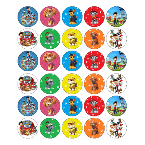 30 x Paw Patrol Edible Cupcake Toppers