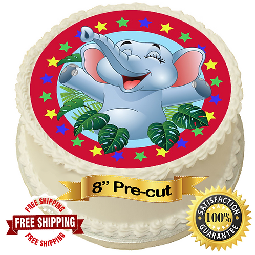 "Cute Elephant 8"" Round Edible Cake Topper"