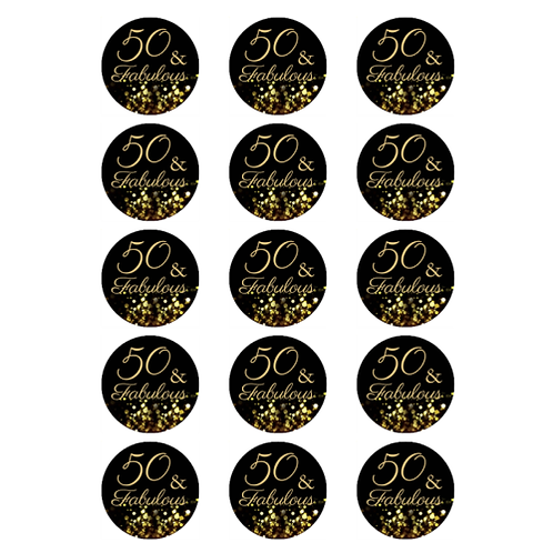 15 x 50 & Fabulous Edible Cupcake Toppers