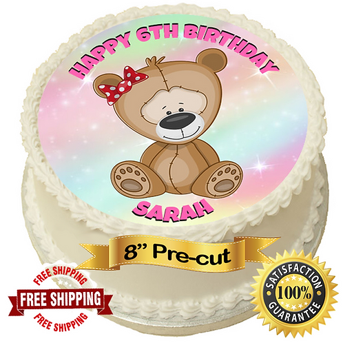 """Cute Teddy Bear Personalised 8"""" Round Edible Cake Topper"""
