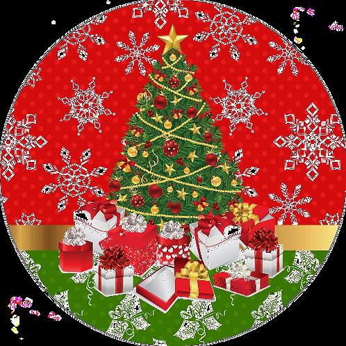 "Christmas 8"" Round Edible Cake Topper #1"