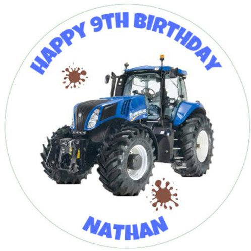 """Holland Tractor Personalised 8"""" Round Edible Cake Topper"""