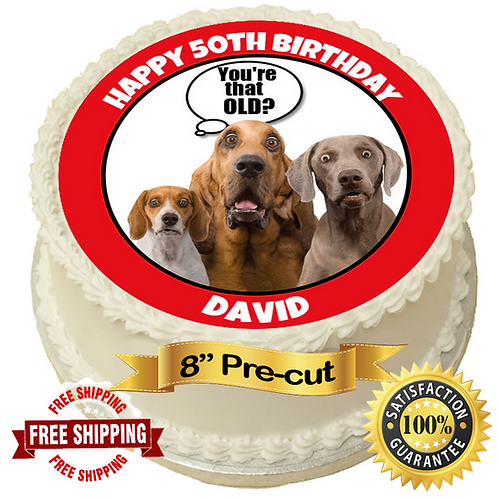 """Funny Dog Personalised 8"""" Round Edible Cake Topper"""